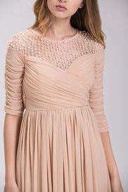 Champagne Pearl Evening Maxi Dress