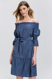 Denim Pin Stripe off the Shoulder Midi Dress