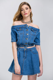 Denim Off the Shoulder Button Up Top and Mini Skirt Set