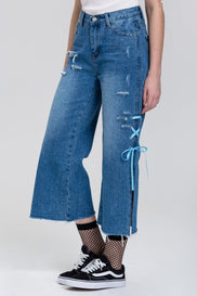Distressed Side Slit Lace Cropped Palazzo Jeans