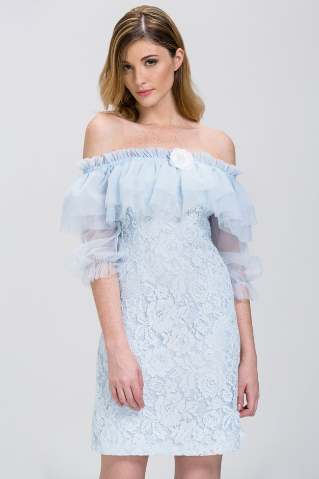 Enchanted Blue Lace Tulle Ruffle Off the Shoulder Mini Dress