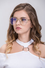 Gold Double Rim Clear Aviator Eyeglasses