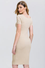 Dima Al Sheikhly - Gold Glimmer Sleeved Bodycon Midi Dress