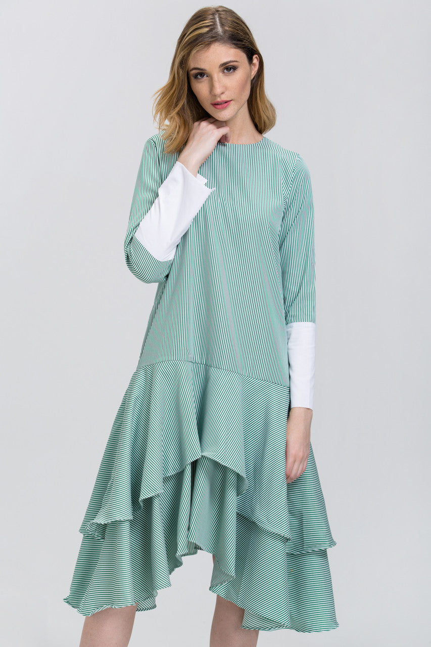 Green Candy Stripe Cuffed Sleeve Ruffle Skirt Midi Dress