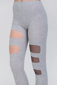 Grey Fishnet Cut Out Tights