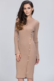 The Real Fouz - Knit Fitted Button Detail Dress