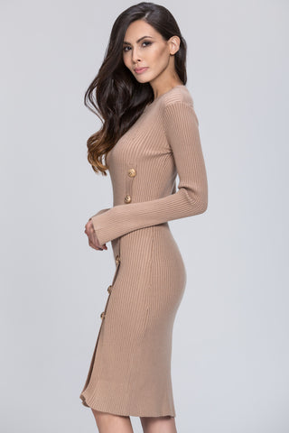 The Real Fouz - Knit Fitted Button Detail Dress 45