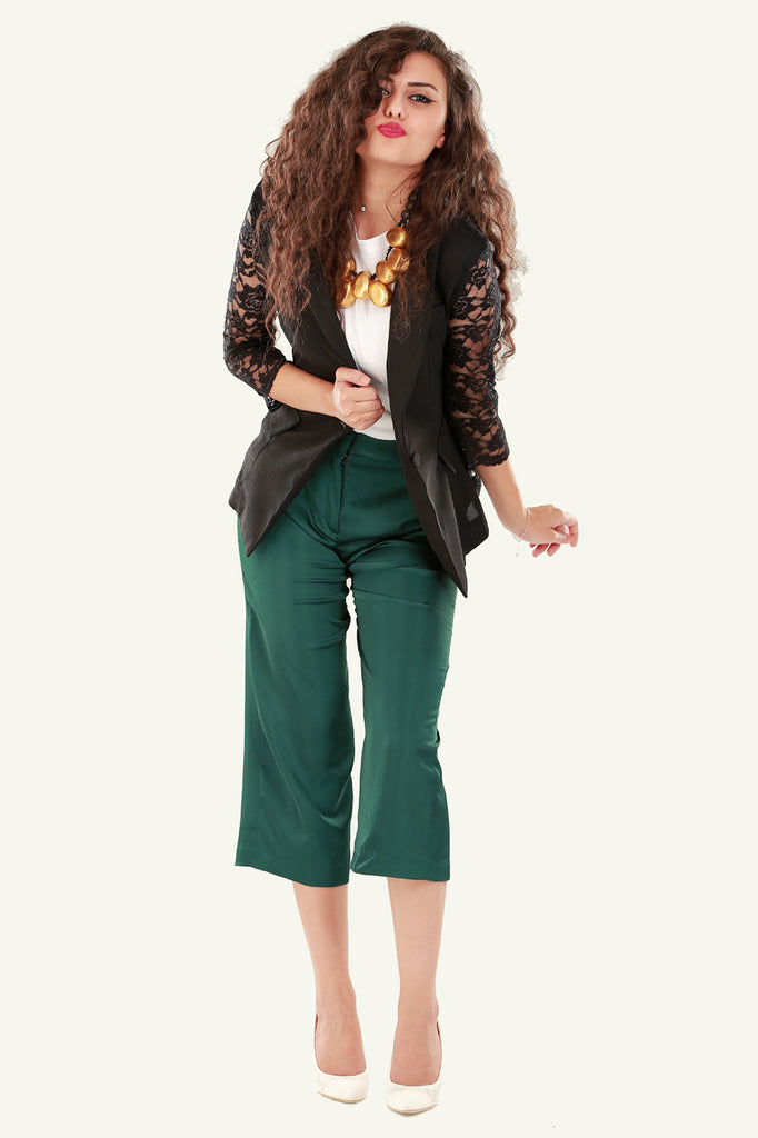 Lace Detail Blazer - Black