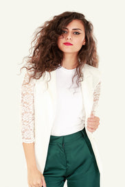 Lace Detail Blazer - White