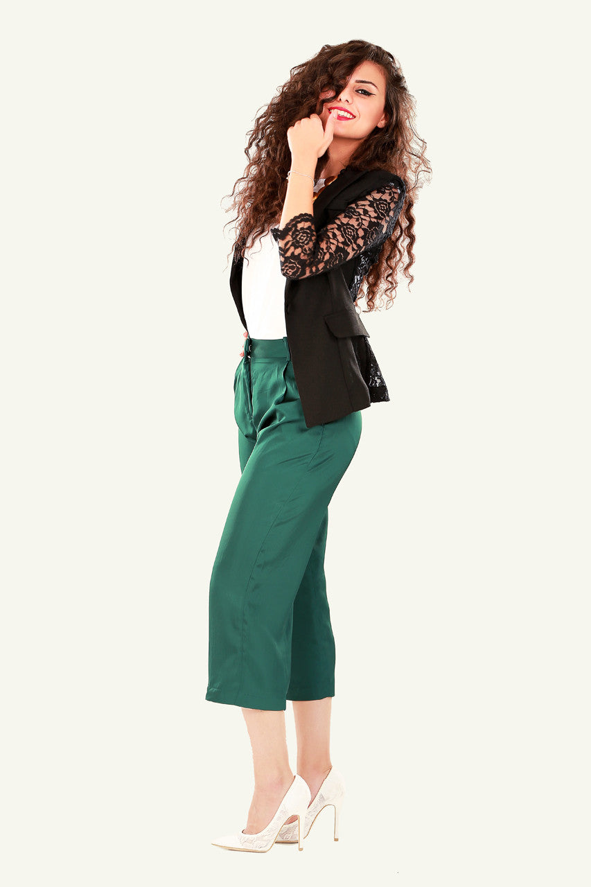 Lucy Crop Trousers - Green