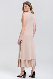 Fatma Husam - Nude Knit Long Vest and Ribbed Maxi Skirt 2 piece Set