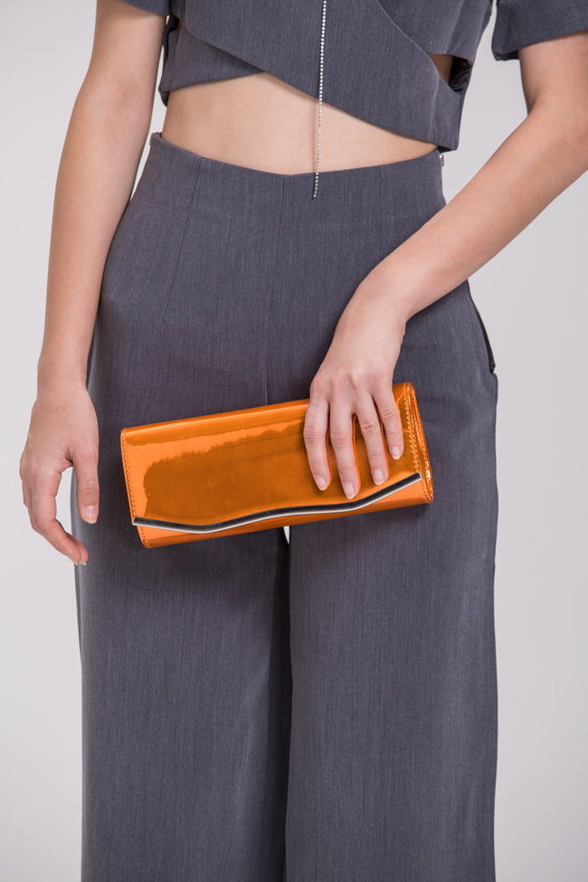 Orange Metallic Clutch Bag