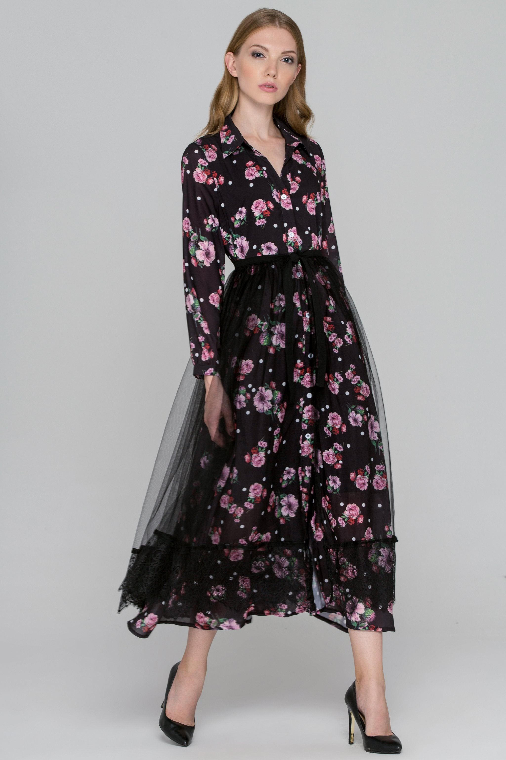 5b16e36053ea3 Black Floral Dots Tulle Layer Maxi Shirt Dress – OwnTheLooks