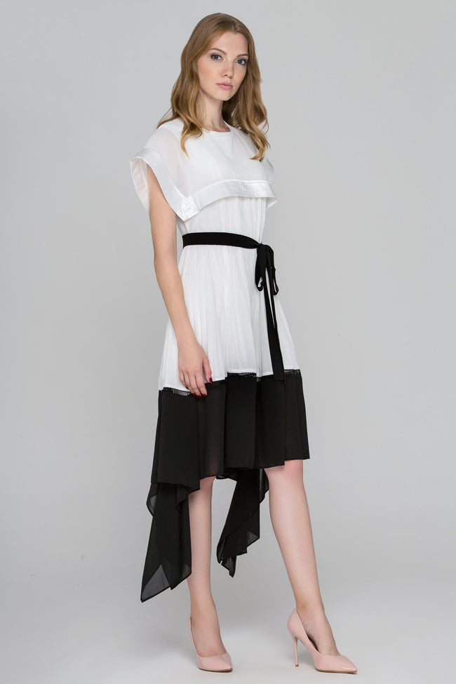 Black and White Sailor Collar Chiffon Midi Dress