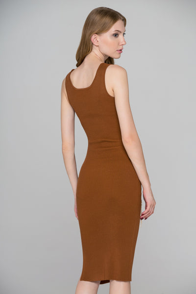 891aa8438d58 Brown Knit Ring Chain Bodycon Midi Dress – OwnTheLooks