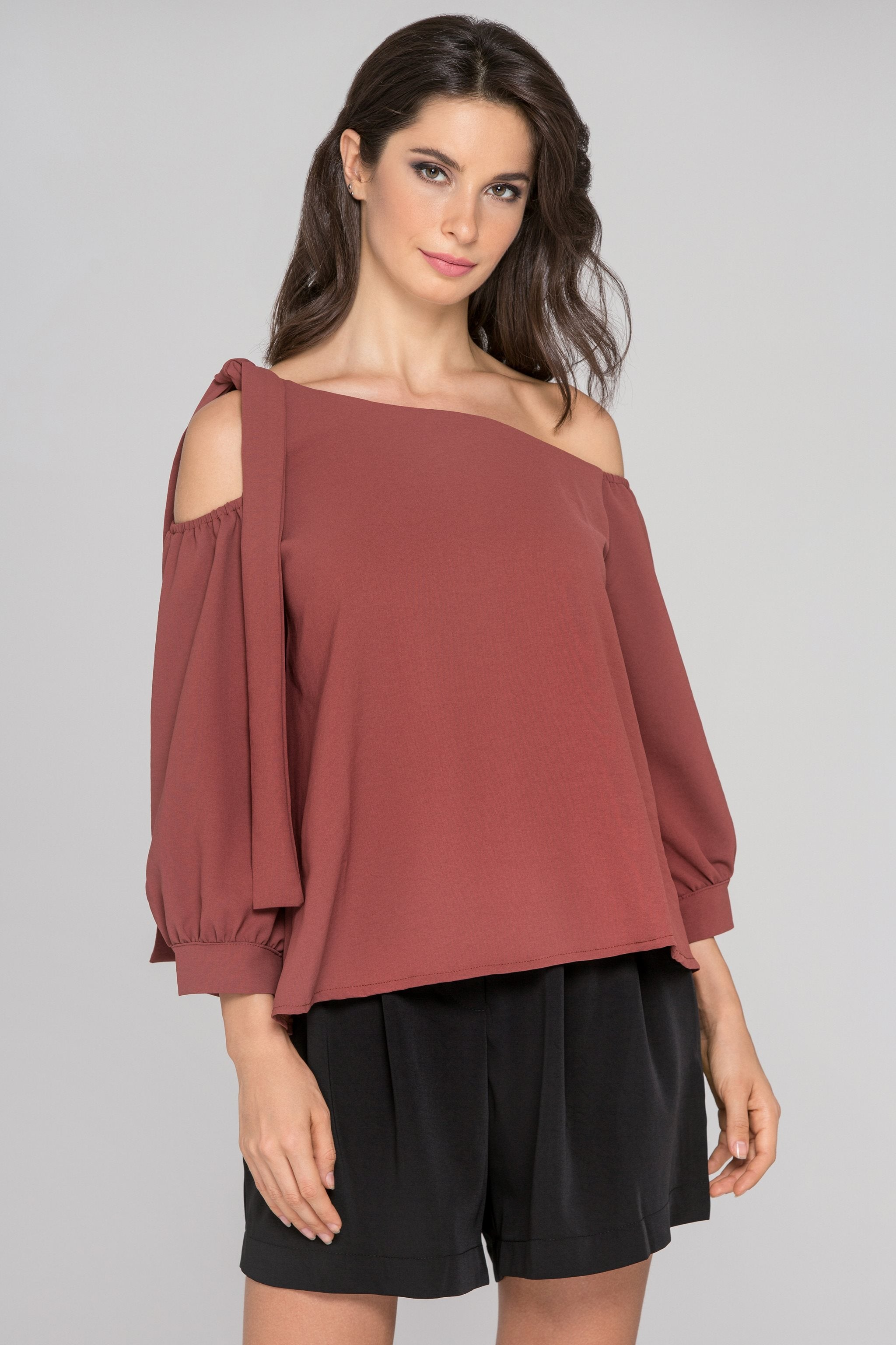 Cinnamon Sleeved One Shoulder Top