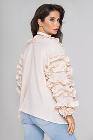 Light Peach Ruffle Sleeve Cardigan
