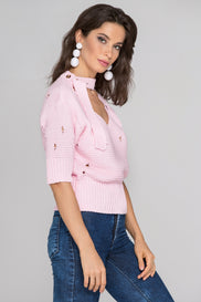 Pink Distressed Crochet Top