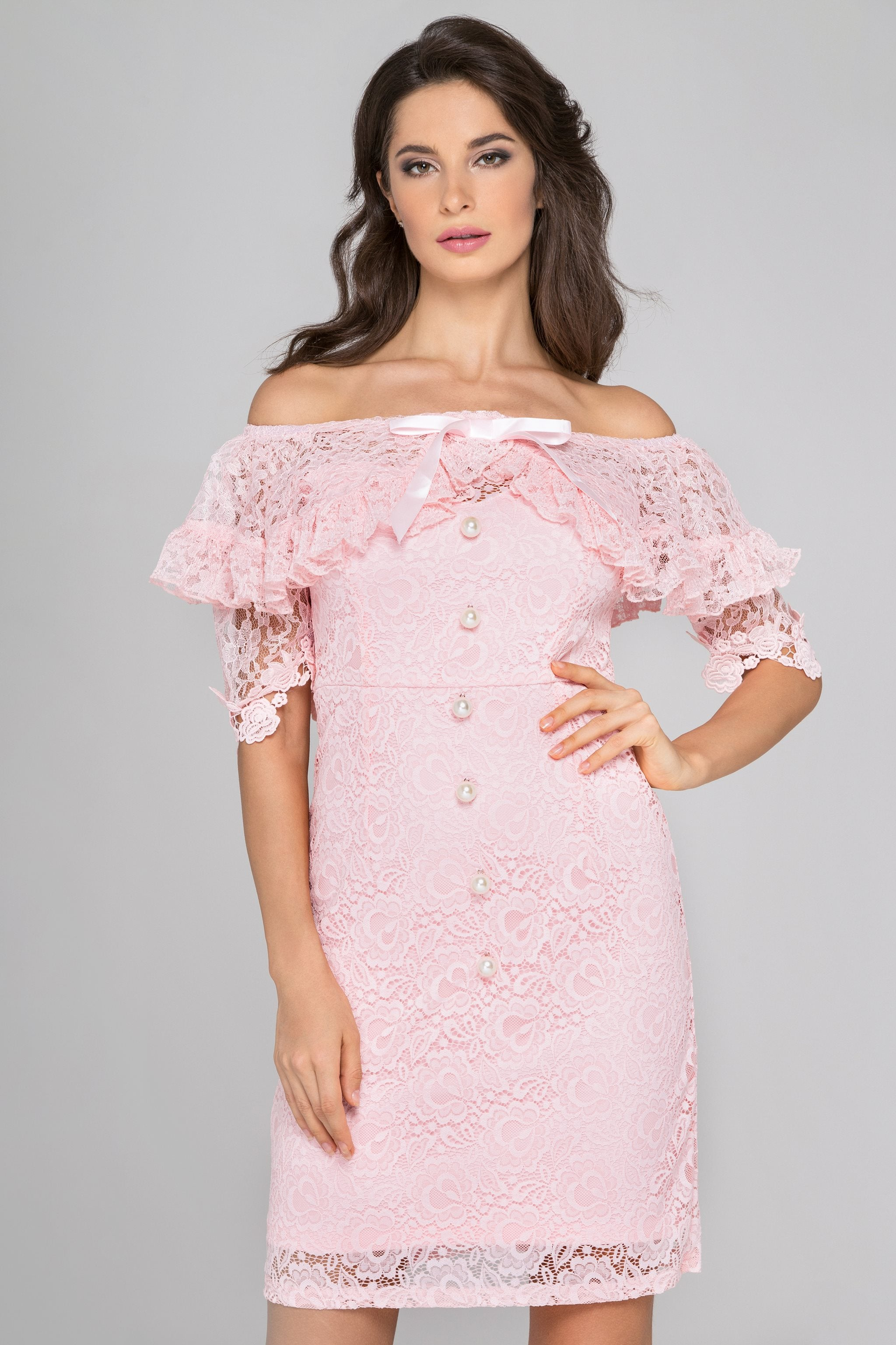 69e2260e69db Pink Lace Pearl Off Shoulder Mini Dress – OwnTheLooks