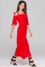 Dana AlTuwairsh - Red Cold Shoulder Bell Sleeves Maxi Dress