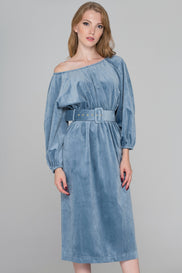 Slate Blue Velvet Belted Midi Dress