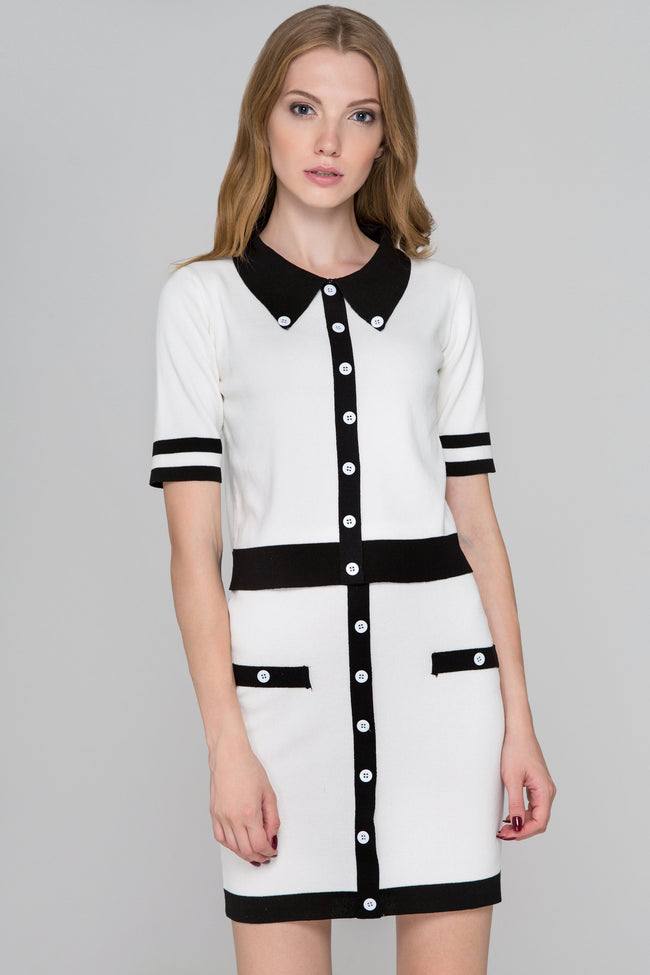 White and Black Trim Knit Two Piece Dress