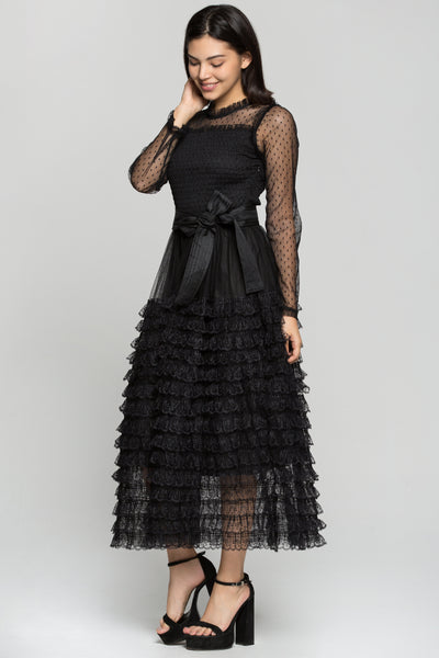 e56314b102 Black Sheer Sleeves Tiered Ruffles Maxi Dress with Belt – OwnTheLooks