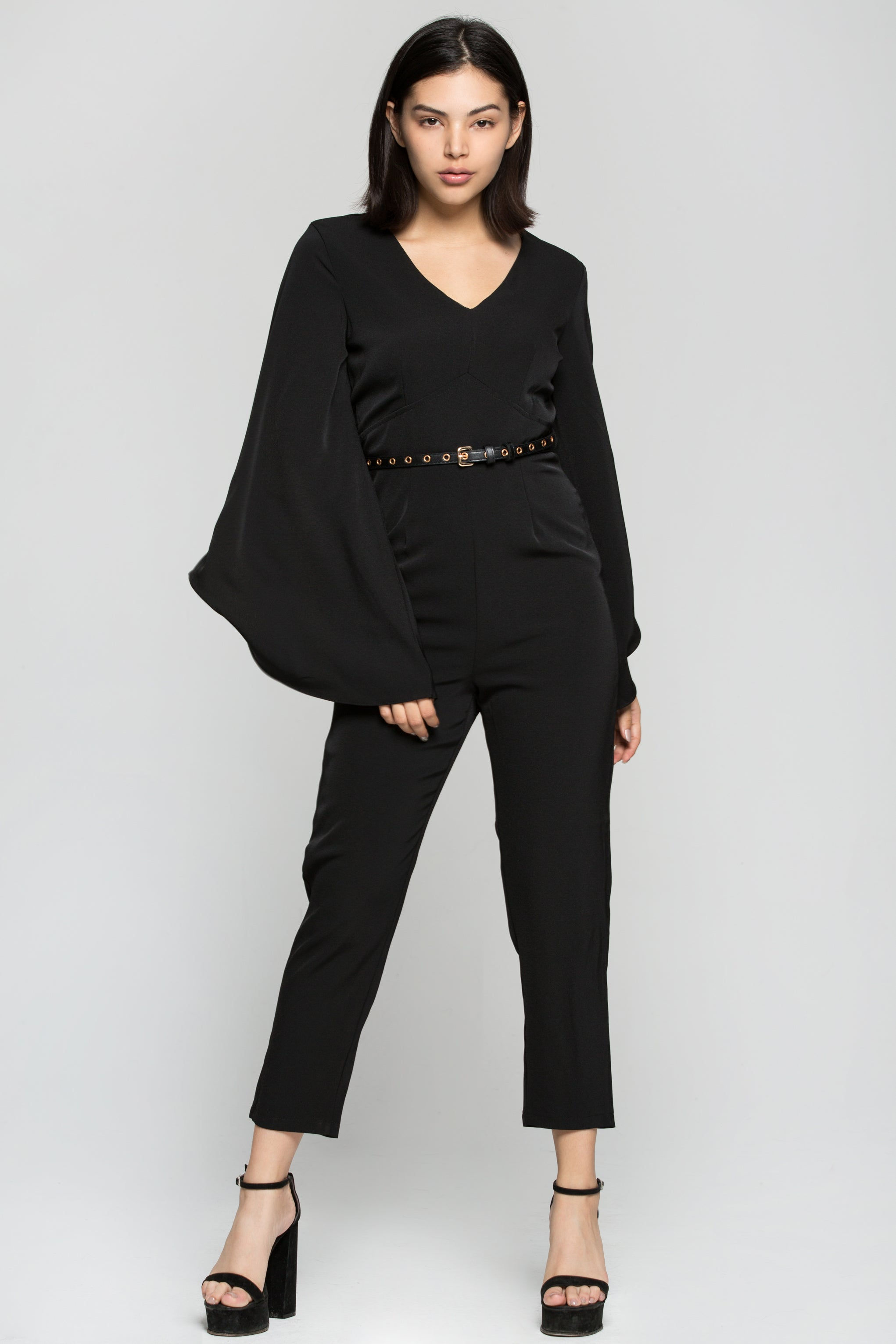 Black Solid Bell Sleeves Jumpsuit with Belt