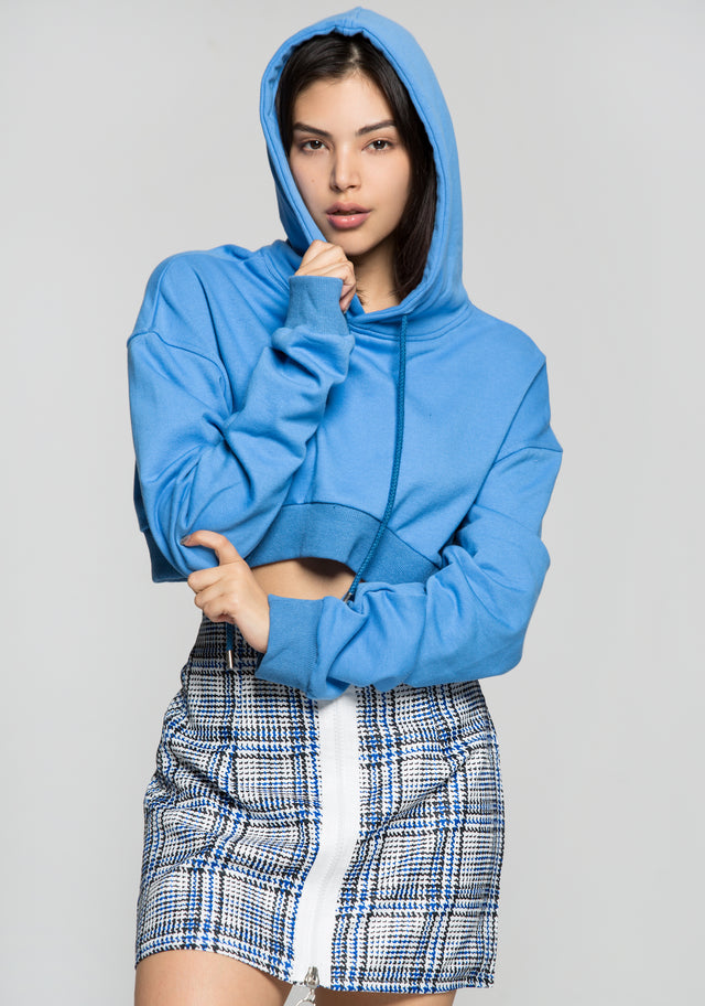 Crayola Blue Drawstring Hooded Crop Jacket with Blue and White Check Print Zip Up Skirt