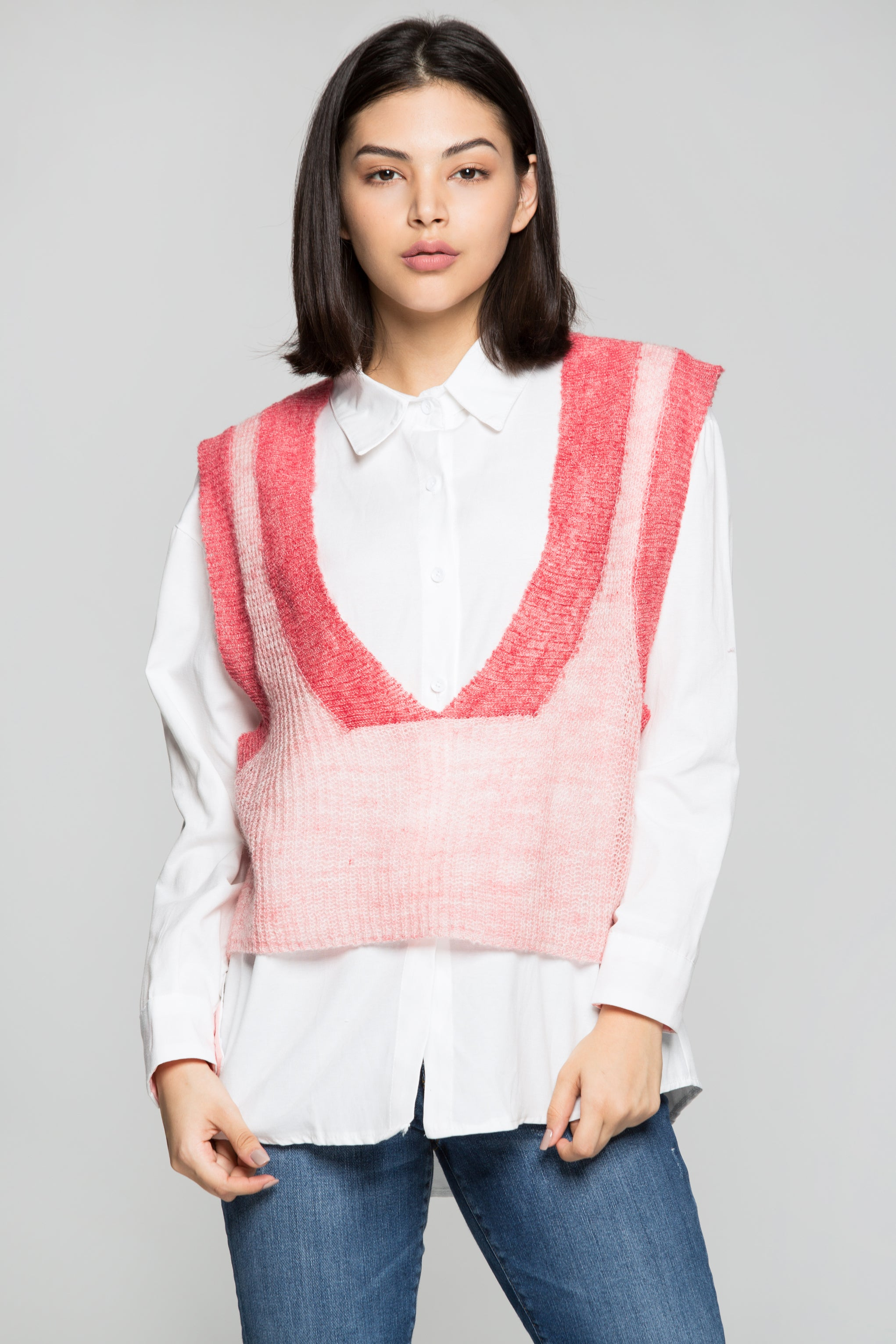 Pink Sweater Vest Over White Shirt