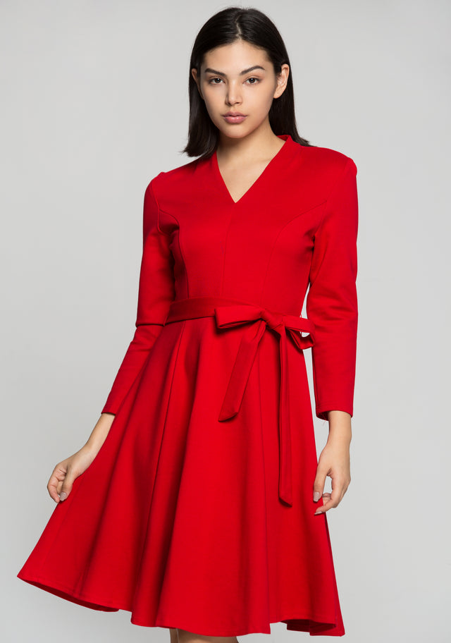 ba3af746305 OwnTheLooks. Red Midi Dress with Bow Belt