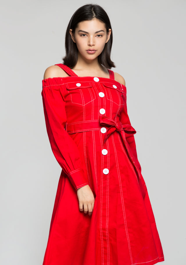 Red Off The Shoulder Full Sleeves Button Up Dress and Bow Belt