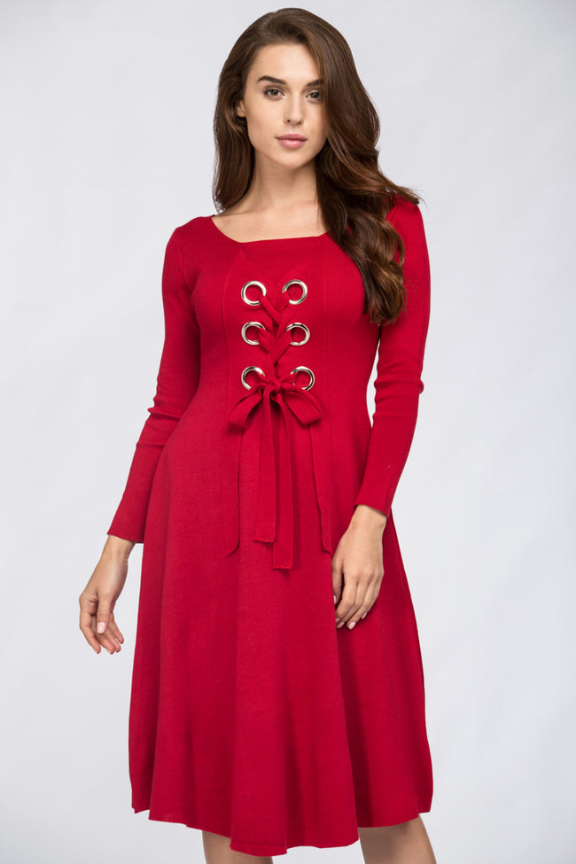 Basic Red Lace Me Up Midi Dress