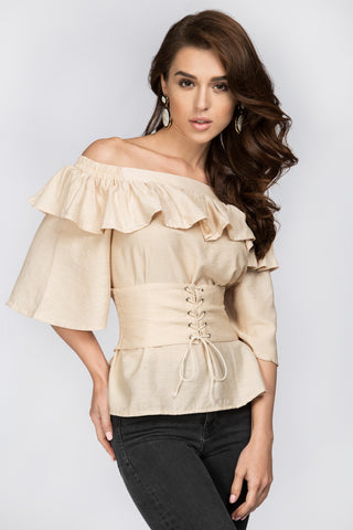 Beige Ruffled Off the Shoulder Corset Top 22