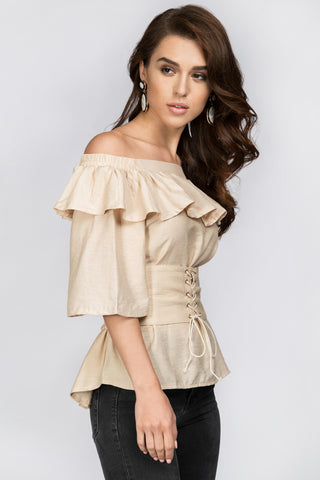 Beige Ruffled Off the Shoulder Corset Top 25