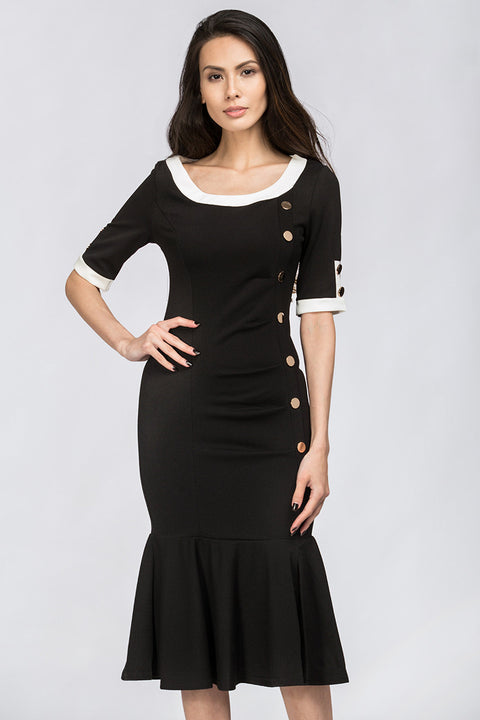 Black Button Detail Mermaid Midi Dress 224
