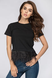 Black Feather Detail Peplum Top