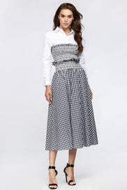 Dana AlTuwairsh - Blue Gingham skirt with Corset waist