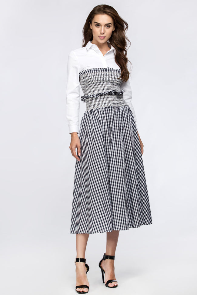 Dana AlTuwairsh - Black Gingham skirt with Corset waist