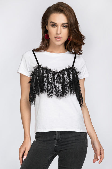 Black Lace Detail T-Shirt 177