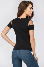 Black Mesh Panel Scarf Top