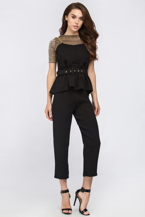 Black Metal Three Piece Peplum Jumpsuit with belt