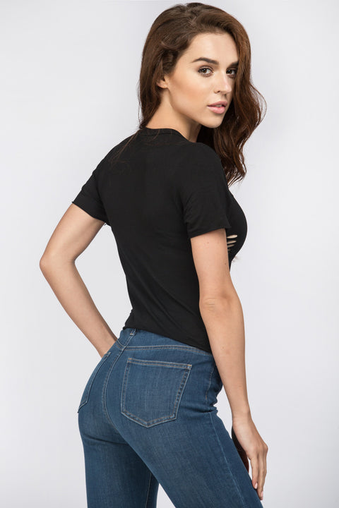 Black Ripped Cropped T-Shirt
