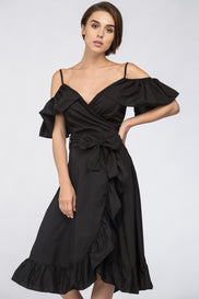 Black Ruffle off the Shoulder Midi Dress