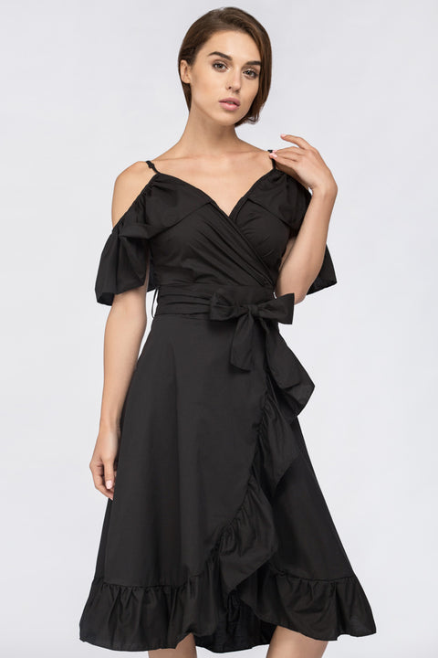 Black Ruffle off the Shoulder Midi Dress 228
