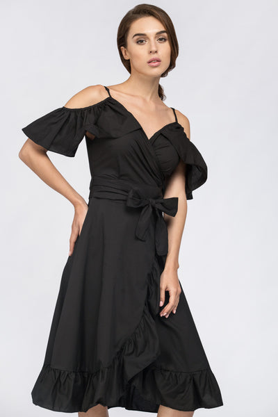 a867a23ebb331 Black Ruffle off the Shoulder Midi Dress – OwnTheLooks