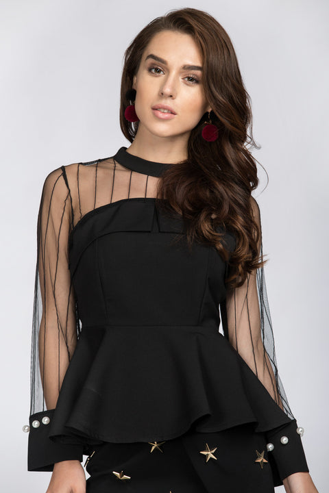 Black Sheer Long Sleeves Yoke Peplum Top 161
