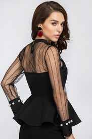 Black Sheer Long Sleeves Yoke Peplum Top
