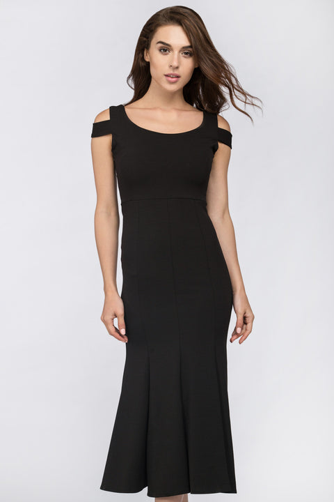 Black Shoulder Band Trumpet Midi Dress 217