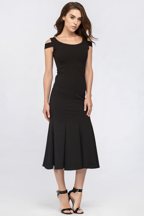 Black Shoulder Band Trumpet Midi Dress 231